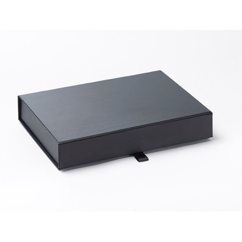 Black A5 Shallow Gift Boxes Magnetic Seal Black Gift